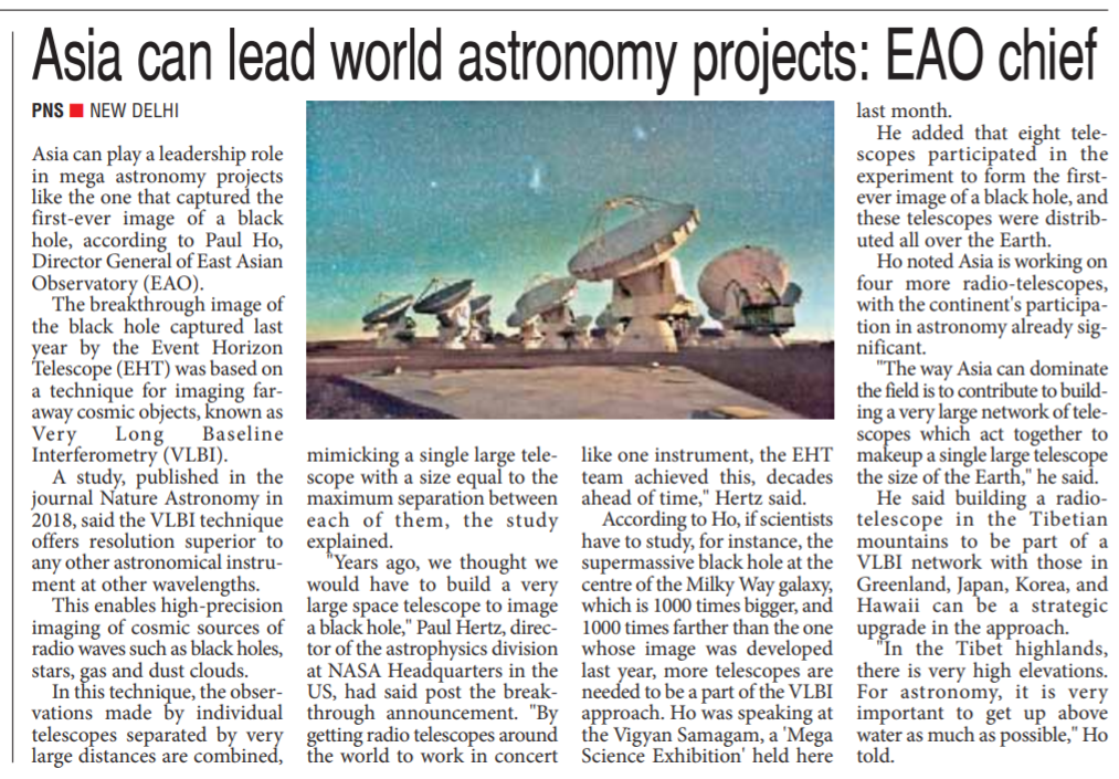 Asia can be leader in future world astronomy projects, says EAO Chief,The Pioneer